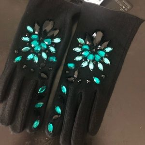 H&M Accessories - Black Gloves with Gemstones